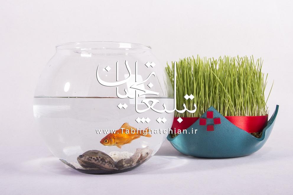 دانلود عکس سبزه و ماهی قرمز